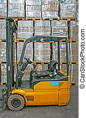Yellow forklifter - Yellow fork lifter truck and cargo boxes