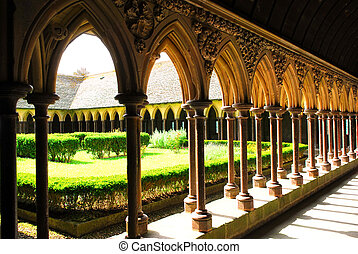 Mont Saint Michel Cloister - Fragment of a cloister in Mont...