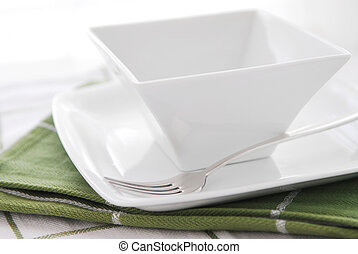 Plate and bowl - Place setting of white plate and bowl