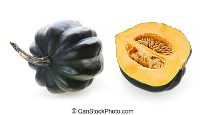 Buttercup squash - whole and a half - isolated on white...