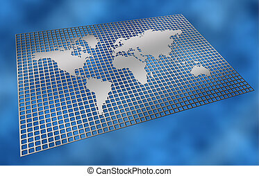 metal grid world map