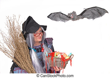 Trick or treat, halloween - Halloween witch with bat, pet,...