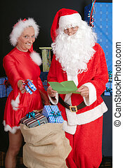 Santa Claus and woman - Xmas, Christmas time, santa claus...