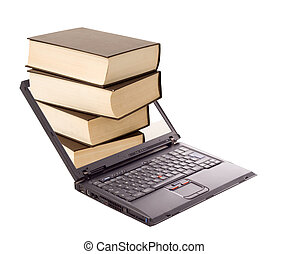 Online library concept - Book stack over laptop - online...