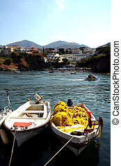 Boats at Bali, Crete - Fishing dinghies at Bali resort,...