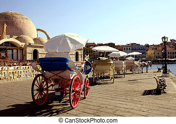 Horse-drawn taxis in Hania, Crete, which provide trips round...