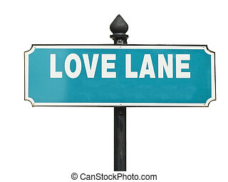 Street sign, Love Lane, white text on green background,...