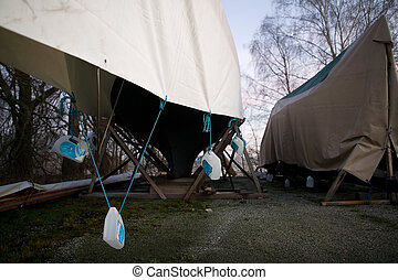 Winter Boat Storage - Boats on dry land being stored for the...