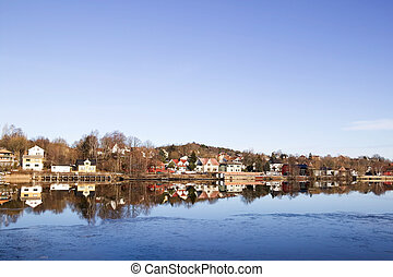 Residential on River - Residential area on the glomma river...