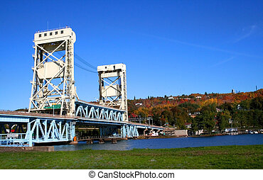 Houghton Hancock Bridge - houghton vertical lift bridge in...