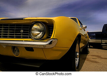 Yellow Mustangs partial view with blue sky background