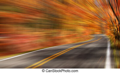 Autumn Drive - Fast motion through scenic autumn drive in...