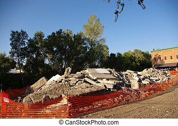 Condemned - Pile of rubble from collapsed building in a...