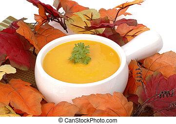 Autumn Squash Soup - Bowl of homemade delicious autumn...