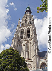 clocktower, church, breda, netherlands
