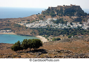 Greek village - Town, castle and bay of Lindos - Rhodes,...