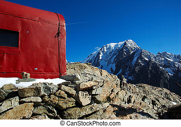mountain hut - little mountain hut, in background the west...