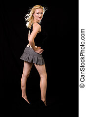 Woman in mini skirt - Full body of a beautiful blond hair...