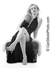 Woman in formal attire - Full body of an attractive blond...
