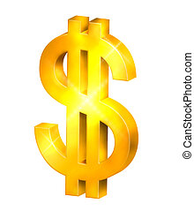Dollar Sign - Rendered Dollar Sign in Gold - Isolated