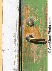 Very old door (door handle and lock)