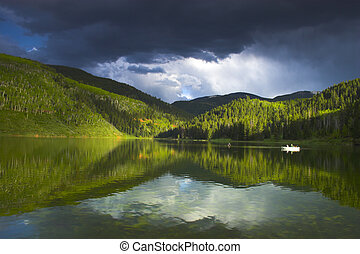 Alpine lake - Evening landscapes of Rocky Mountains in...