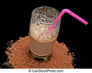 Glass of Chocolate Milk - Glass of cold chocolate milk...