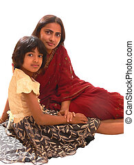 Mother and daughter - An Indian mother with her daughter...