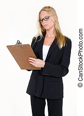 Taking inventory - Attractive blonde woman in professional...