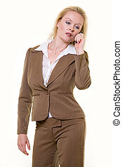 Woman in brown business suit - Attractive blond woman...