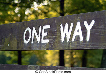 """One Way - A \\\""""one way\\\"""" sign in a local park"""