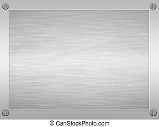 framed brushed metal - sheet of rendered brushed steel or...