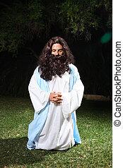 Praying at Gethsemane - Jesus on knees praying earnestly in...