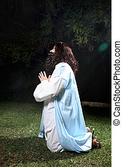 Pray in times of trouble - Side view of Jesus in Garden of...