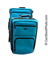 Suitcases - two blue suitcases isolated on a white...