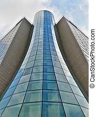 Glass tube building in Warsaw