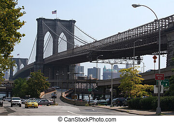 Brooklyn Bridge - The Brooklyn Bridge from a Manhattan...