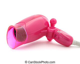 hairdryer - compact pink hairdryer at the white background