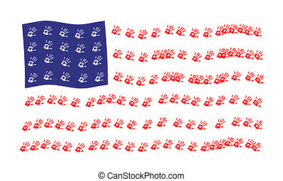 Waving American Flag - Waving American flag in red, white...