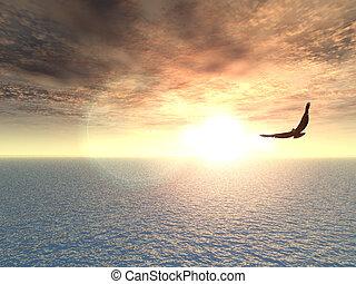 eagle flying over water - 3d illustration