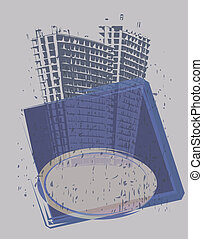 Tower banner - Illustration of tower-blocks and banner