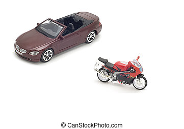 cabriolet and motor bike - series object on white - model...