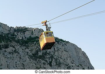 Cableway. Rope - way in the Crimean mountains