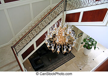 Elegant chandelier and staircase luxurious interior design
