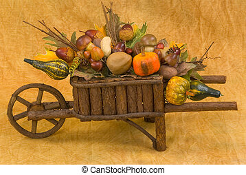 Seasonal Decoration - Wooden wheelbarrow filled with...