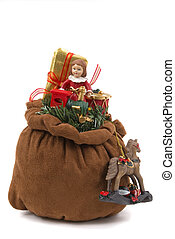 Santas Bag - Santas toy bag with doll, train, horse, drum...