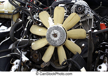Engine and Fan - the fan of an engine in a damaged truck