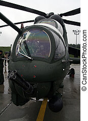 Gunship - MI -24 Soviet helicopter at military airport