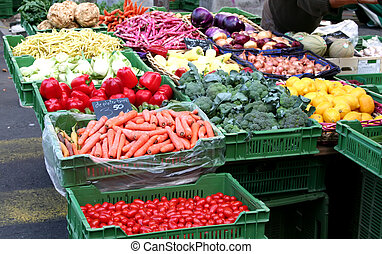 Vegetable market - Vegetables on display in outdoor farmers...