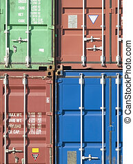 Freight containers - Stack of 40 foot freight containers in...